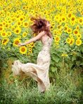 woman sunflowers